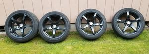 Universal 5 lug Velocity 18 inch rims and tires universal 5x114.3 235/45/18 tires for Sale in Portland, OR