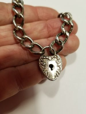 RARE VICTORIAN HEART PADLOCK BRACELET STERLING for Sale in Concord, MA