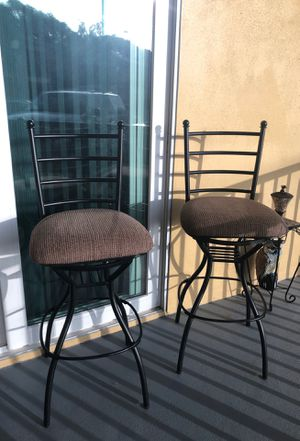 Two Matching Stools Chocolate Steel with Cushion Top Seats. for Sale in Tampa, FL