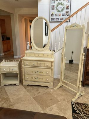 Shabby chic dresser with attached mirror, nightstand and stand up mirror for Sale in Norco, CA