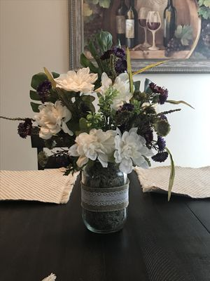 Purple mason jar arrangement for Sale in Killingly, CT