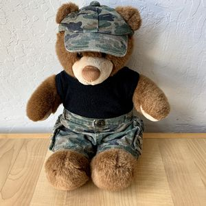 Build-A-Bear Workshop First Edition BAB Plush Camo Brown Teddy Bear In Camouflage Hat, Shorts And Black Tank Top Outfit Stuffed Animal Toy for Sale in Elizabethtown, PA