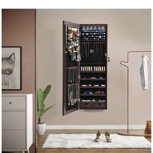 """47.2"""" H Full Screen Mirrored Jewelry Cabinet Armoire, 6 LEDs Jewelry Organizer Wall Hanging/Door Mounted, Larger Capacity, Dark Brown for Sale in Rancho Cucamonga, CA"""