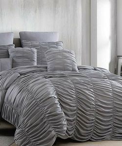 8 Piece Bedding Set - Queen Size, Charcoal, Makena for Sale in Aloha,  OR