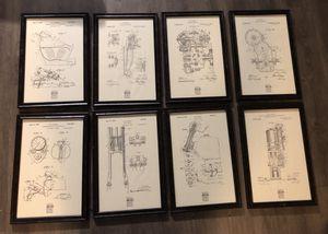 Vintage Professional Framed W. S. Harley Patent Illustration Prints HARLEY DAVIDSON for Sale in Nashville, TN