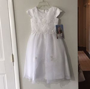 Kids Size 6- Brand New! Girls White Formal Dress for Sale in Bayonne, NJ