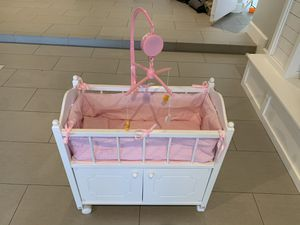 Doll Crib with Gingham Bedding, Musical Mobile, and Wheels (fits American Girl Dolls) for Sale in Miami, FL