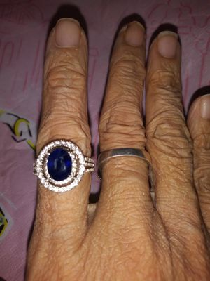 2.64CTW OVAL SAPPHIRE WITH .71CTW ROUND WHITE ZIRCON SS RING SIZE 7 for Sale in Detroit, MI