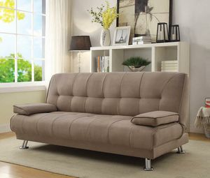 BRAND NEW Modern Microfiber Tan Sofa Bed Sleeper with chrome legs futon for Sale in KNG OF PRUSSA, PA
