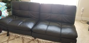Black leather futon for Sale in Gaithersburg, MD