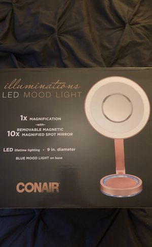 Conair Single-sided Lighted Makeup Mirror With Led Lights; 1x Magnification With Removable Magnetic 10x Magnified Spot Mirror; Rose Gold Finish With for Sale in New York, NY