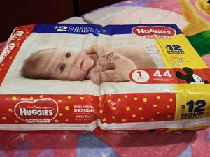 Huggies size 1 (44 diapers) + inside 1 coupon $2 dollars for Sale in Vallejo, CA