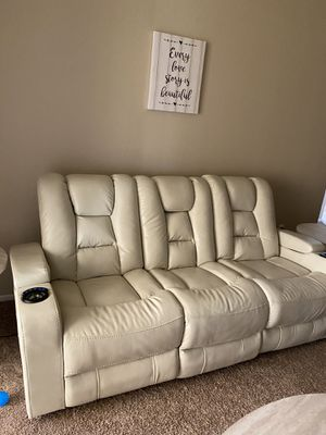 White leather sofa couch 3 seat with drop down tray and electric head rest and leg rest last day for Sale in Scottsdale, AZ