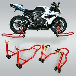 New in box black or red color front and spool lift rear motorcycle sports bike repair maintenance jack stand rack bike rack bike stands for Sale in Whittier, CA