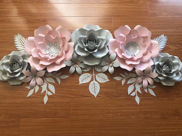 Paper flowers set. Set de flores de papel.
