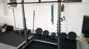 $150 Golds Gym Squat rack with barbell for Sale in Holly Springs, NC