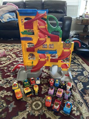 Retired Fisher Price ramp and 17 cars for Sale in Clovis, CA