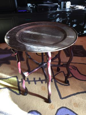 Brass antique table, origin unknown (most likely China) about 100 yrs old for Sale in Marblehead, MA