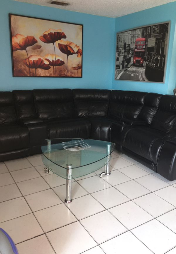 Black leather electric sofa sectional or devided
