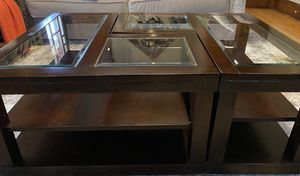 Chocolate Coffee Table with 2 Shelves and Casters for Sale in Buffalo, NY