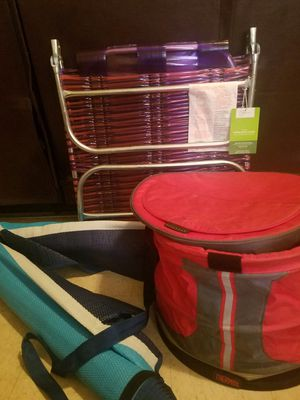 Beach set includes mainstays beach mat, collapsible cooler, foldable beach chair. for Sale in Tampa, FL