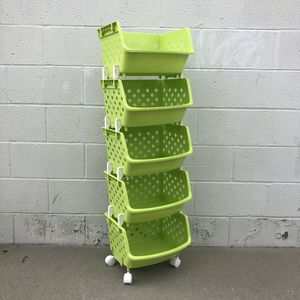 Green Fresh Fruits Vegetables Storage Rack With Wheels Kitchen Appliances Storage Box Furniture for Sale in South El Monte, CA
