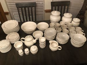 Longaberger Pottery Woven Traditions Red Complete Dinnerware Set for Sale in Bedford, TX