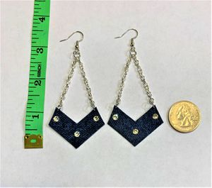 Chevron Denim Dangle upcycled Earring with Swavorski Crystals very attractive and shinny for Sale in Peoria, IL