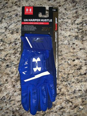 New Under Armour Harper Hustle Youth Baseball Batting Gloves Royal Blue Size Small for Sale in Frederick, MD