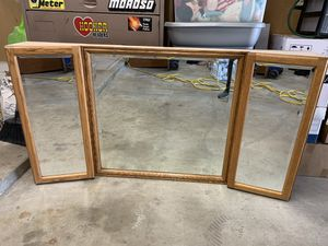 Oak mirror with storage for Sale in Madera, CA