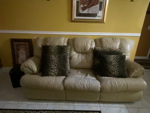 Tan leather Sleep sofa Couch and Recliner for Sale in Palm Bay, FL