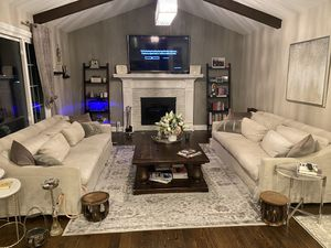 Restoration hardware (RH) sofas (2), with reclaimed wood coffee table and rug for Sale in Dearborn Heights, MI