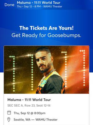 Maluma- 11:11 World Tour for Sale in Tacoma, WA