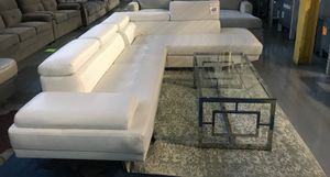 Elegant White leather couch set + glass top table for Sale in Detroit, MI