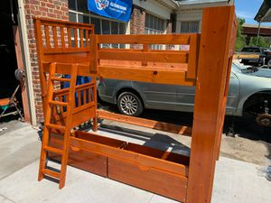 Like New Twin Bunkbeds with option to separate for 2 single beds!!! With 2 under bed storages on wheels. for Sale in Portsmouth, VA