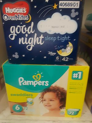 Pampers Swaddlers size 6 and Huggies overnight size 6 for Sale in Farmington Hills, MI