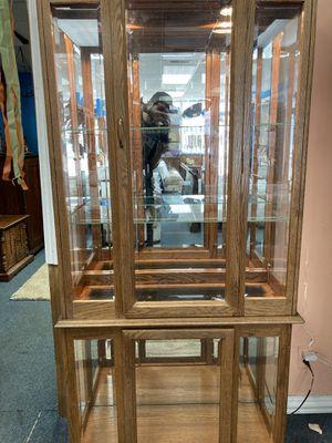 Oak glass hutch 250 for Sale in Peoria, IL