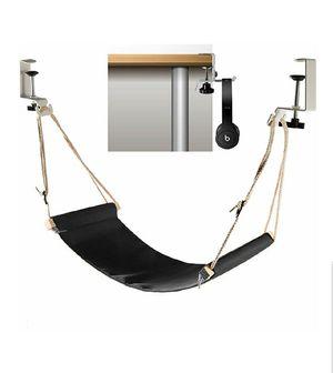 Foot hammock under desk with headphones holder | Upgraded adjustable ergonomic office feet rest | Suitable for all desks | Black for Sale in Bakersfield, CA