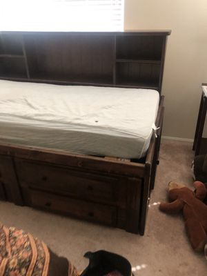 Dark Brown Bed w/ Drawers and Under Bed Storage for Sale in North Las Vegas, NV