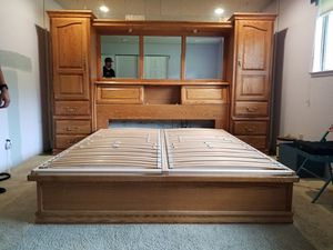 Solid Oak Cal King bed frame with storage for Sale in Elk Grove, CA