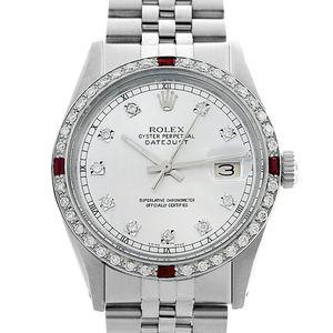 Rolex Datejust- 36mm Silver Diamond Roman Track Ruby Bezel for Sale in Los Angeles, CA