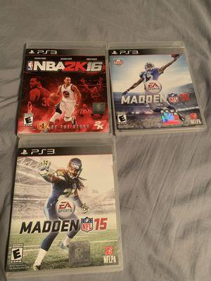 Madden 15/16 & NBA2K16 PS3 for Sale in Casa Grande, AZ