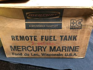 Vintage Mercury Marine 3 gallon metal outboard motor gas tank with original box and extras for Sale in Bellevue, WA