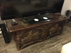 Wood engraved trunk, bar and wine chest for Sale in West Palm Beach, FL