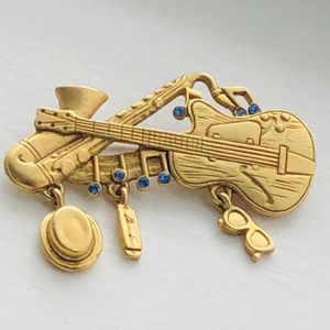Vintage Dancraft Musical Pin Musical Brooch Guitar Brooch Horn Instrument Pin Saxaphone Pin Brooch Jazz Pin Blue Rhinestones Dangle Charms for Sale in Highland, MD