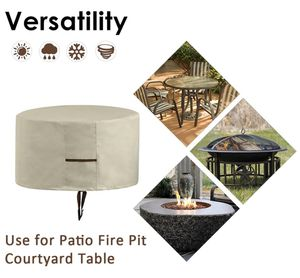 Fire Pit Cover, Patio Round Fire Pit Cover with Drawstring UV Resistant Waterproof for Outdoor Grill BBQ Cook Beige (31.5'' X 16'' (Creamy White)) for Sale in Edison, NJ