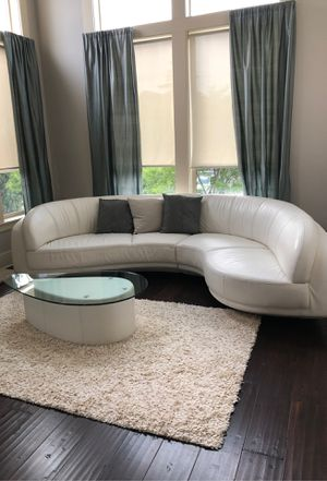 White leather couch w/ matching table for Sale in Portland, OR