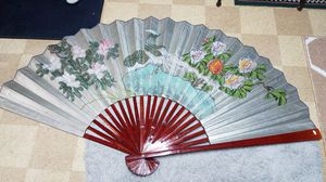 antique Chinese 3ft by 6ft hanging wall fan in excellent condition for Sale in North Fond du Lac, WI