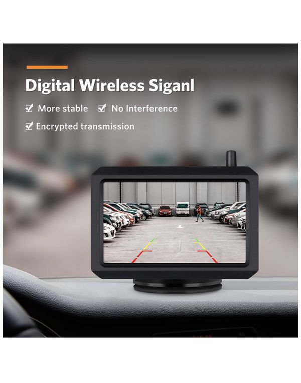 Wireless Backup Camera Kit with Digital Signal, IP68 Waterproof Rear View Camera with 5″ TFT-LCD Monitor BOSCAM K7 Ideal for Sedans, Pickup Truck, Mi