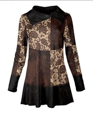 Brown & Cream Floral Blocked Collared Swing Tunic - L for Sale in Cleveland Heights, OH